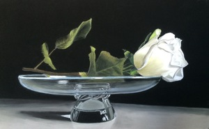 Rose on Steuben Glass
